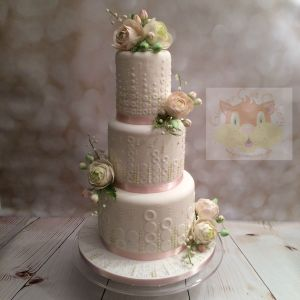 pink green wedding cake