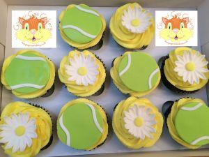 tennis daisy cupcakes