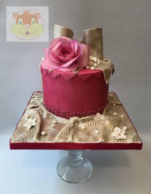 deep rose hatbox cake