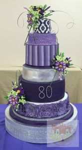 6 tier purple cake