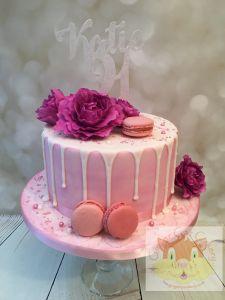peony drip cake