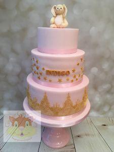 christening cake - pink