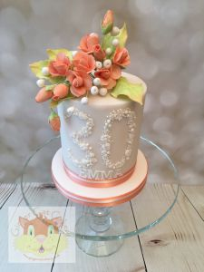 Peach roses mini cake