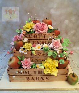 Apple crate wedding cake