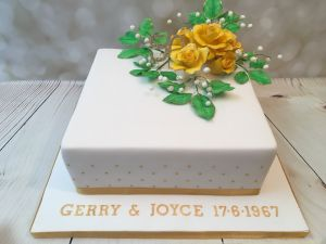 50th anniversary roses cake